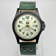SOKI Military Army Green Mens Quartz Analog Date Time Leather Band Wrist Watch