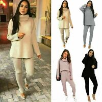 Womens Chunky Knitted High Roll Neck Jumper Top Bottom Loungewear Tracksuit Set