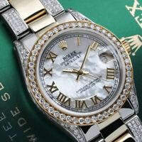 Rolex 31mm Datejust White MOP Roman Numeral Dial Diamond Bezel & Oyster Band
