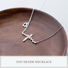 pure 925 silver love Electrocardiogram fashion wedding party charm neckles D372