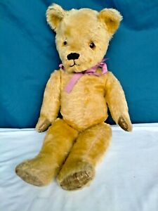 """VINTAGE LARGE LIGHT GOLD MOHAIR TEDDY BEAR WITH LARGE GLASS EYES 20"""""""