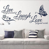 Live Laugh Love Quotes Butterfly Wall Stickers Art Room Decal Home Room Decor