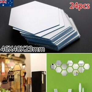 24x Large Hexagon Mirror Glass Tile Wall Stickers Decal Home Decor Self Adhesive