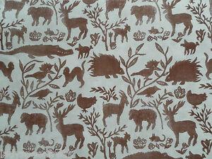 Flockhart Curtain Fabric NURSERY DESIGN 1.1m Rust - Vintage Linen Design 110cm