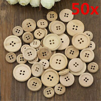 50pcs Round Natural Wood Handmade 4 Holes Wooden Buttons Sewing Scrapbooking DIY