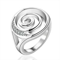 Stunning 925 Sterling Silver Filled Spiral Wedding Engagement Ring Jewelry Gift