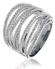 Diamond Multi-Band Ring 1.60ct Brilliant Cut F VS in 18ct White Gold
