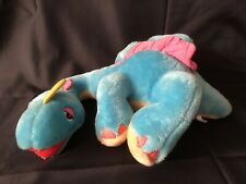 Dinosnores vintage 1986 Blue & pink plush Dinosaur Vhtf Brontosaurus Works Rare