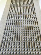 """Crate & and Barrel Grid Embroidered Table Runner-Gold/Grey -14"""" x 72""""-NWOT- Read"""