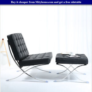 Modern Classic Barcelona Style Lounge Chair And Ottoman Stool Leather