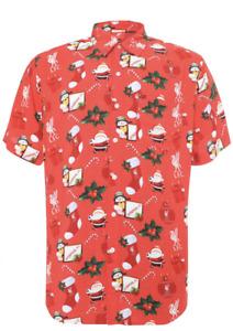 Liverpool FC LFC Short Sleeve Shirt Christmas t-Shirt Xmas Hawaiian Jumper S-XXL