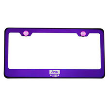 Purple Chrome Laser Etched Jeep Logo License Plate Frame T304 Stainless Steel