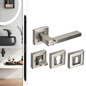 Designer Brushed Nickel Chrome Internal Door Handles Lever On Square Rose