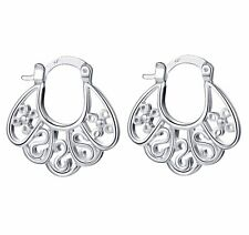 Women's 925 Sterling Silver Filigree Stamped Swirl Unique Hoop Earrings