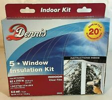 """3 Dennis Window Insulation Kits Indoor Clear Film 62""""x210"""" Tape Included Shrinks"""