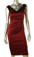 AQUA ~ Wine Red Satin Double V Ruched Sheath Cocktail Dress 10 NEW $208