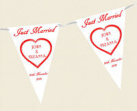 PERSONALISED WEDDING BUNTING - BANNER - JUST MARRIED choice of flag colours