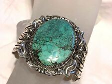 beautiful Turquoise Sterling Silver cuff bracelet by Navajo Will Denetdale
