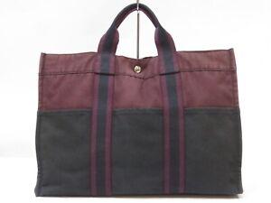 Authentic HERMES Fourre Tout Canvas Tote bag Reddish Brown Black 18635619