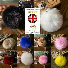 10cm LARGE Flossy Soft Fur Artificial Ball Pom Charm Bag Pendant Silver Keyring