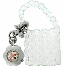 """Peanuts 50th Anniversary """"Snoopy"""" Clip Watch With White Beaded Purse"""