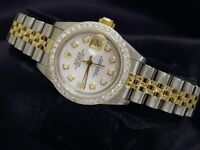 Rolex Datejust Ladies 18K Yellow Gold & Steel Watch White MOP Diamond 1ct Bezel