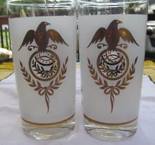 4 Vintage Mid Century Frosted with Gold Eagle & Laurel Wreath Drinking Glasses