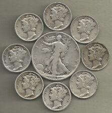 Walking Liberty Half & Mercury Dimes - 90% Silver - US Coin Lot - 9 Coins #3915