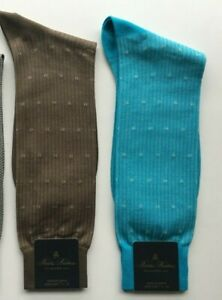 BROOKS BROTHERS Cotton Nylon Dress Casual Socks Taupe Beige Aqua Blue NWT
