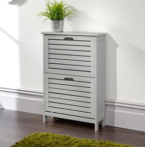 Shoe Storage Cabinet 2 Tier Grey Slatted Cupboard Doors Scandanavian Style