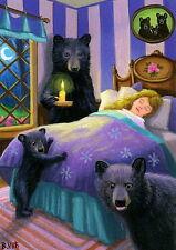 Goldilocks 3 bears fairy tale bed night fantasy OE ACEO print art