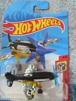 Hot Wheels 2018 #000/365 MAD PROPZ plane black over yellow Case J long card