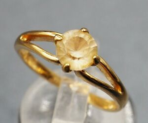 Citrine Womens Ring Gold Plated Fine Jewellery Band Size O Split Shoulder Ring