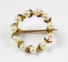 Brosche Damenbrosche 8 Karat 333 Gold Gelbgold rund 11 Perlen Perle Halbmonde