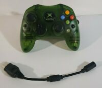 Original Microsoft Xbox S Controller Translucent Green OEM With Breakaway Cable