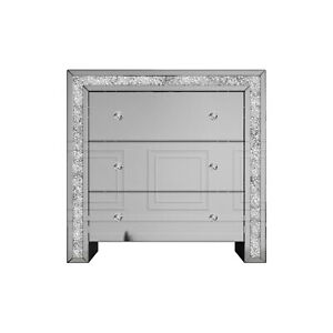 Mariah Crushed Diamond Mirror Chest of Drawers in Silver