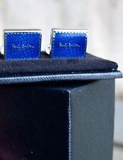 NIB Paul Smith Men's Rectangular Signature Blue Cufflinks