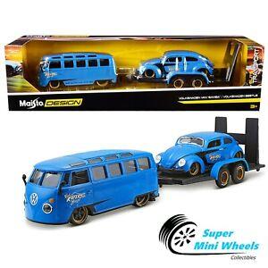 """Maisto 1:24 Elite Transport - Volkswagen Van """"Samba"""" / Volkswagen Beetle - Blue"""