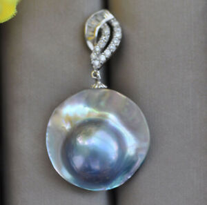 Z10938 Huge 22mm Blue Round South Sea Mabe Pearl Pendant CZ