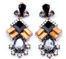 Fashion Women's Lady Long Tassel Silver/Gold Plated Crystal Dangle Hook Earrings