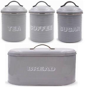 Leonardo Collection Grey Bread Bin Tea Coffee Sugar Canister Countertop Set