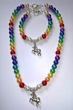 UNICORN RAINBOW GLASS PEARL CHARM PENDANT/NECKLACE & BRACELET SET, LOBSTER CLASP