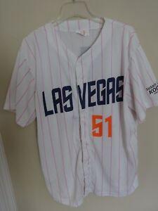 Vintage EUC MiLB Las Vegas 51's SGA Button Up Baseball Jersey Men XL Dodger Pink