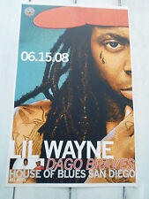 "LIL WAYNE Concert Poster DAGO BRAVES San Diego House of Blues 11""x17"""