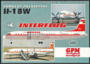 Kartonmodell Passagierflugzeug IL-18W Interflug 1:50 GPM