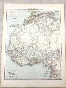 1895 Map of North West Africa Algeria Sudan Cape Verde Old 19th Century Large