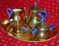 MINIATURE TEA SET - RARE BLUE HANDLE & GOLD PORCELAIN - TRAY & STERLING SPOON