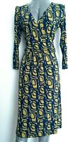 BODEN abstract print jersey dress size 12R knee length 3/4 sleeves wrap top