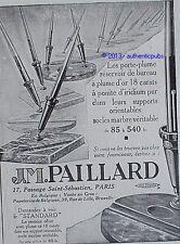 PUBLICITE J.M PAILLARD PORTE PLUME RESERVOIR DE BUREAU STYLO DE 1929 FRENCH AD