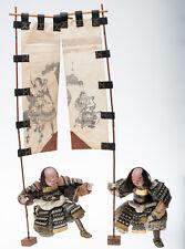 Antique Japanese EDO Musha Dolls Samurai Attendants with Banners--Museum Quality